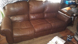 Palliser double reclining couch and loveseat brown leather