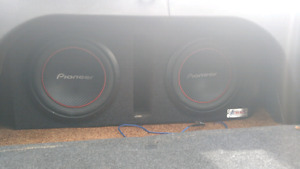 2 10 inch pioneer subs with amp