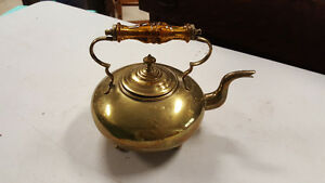 Antique Brass kettle with amber glass handle