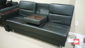 SOFA BED / COUCH - BLACK LEATHER - STORAGE AND OTTOMAN
