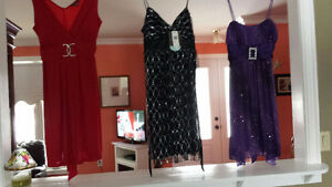 Red black and purple dress.