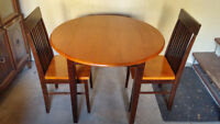 3-Piece Dining Set with Round Drop-Leaf Table