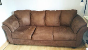 Chocolate Brown Microfiber Couch - Excellent Condition!