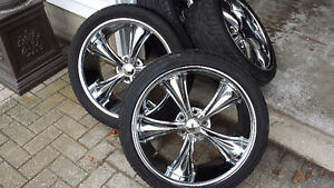 """20"""" Boss chrome rims and tires"""