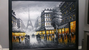 Paris at night by Grace Denton (signed) oil on canvas (