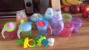 Sippy cups and 2 mesh feeders