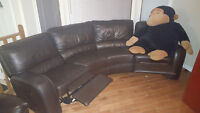 chocolate leather sectional for sale