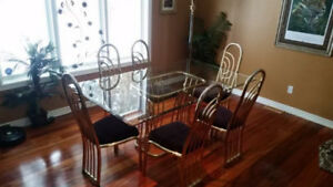 Glass and Brass Dining Room Set.