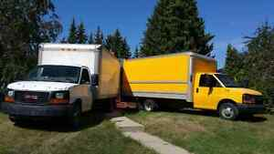 Moving truck going empty towards slave lake  Swan Hills , AB. Wh