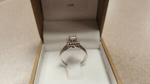 14kt White Gold Canadian Diamond Cluster Style Engagement Ring