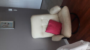 White leather couch and matching swivel chair