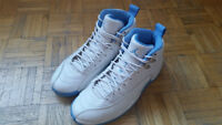 air jordan 12 white/blue nike adidas