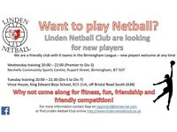 Linden netball team - looking for new players!