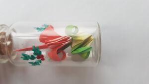 Handmade Red & Green paper cranes mistletoe necklace
