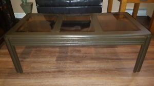Chocolate Brown Hand Painted Coffee Table with Tinted Glass