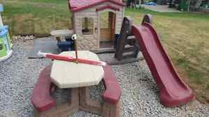 Outdoor play set - slide, picnic table and playhouse