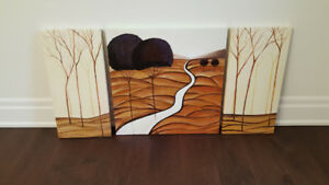 Hand painted artwork trees river art 3 pieces set large gift