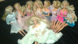 Vintage Barbies, clothes, vehicles