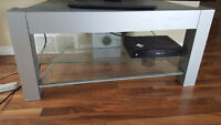 Free grey wood and glass tv stand pick up only