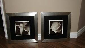 (3) Pc - FLOWER ART WALL ACCENT PIECES