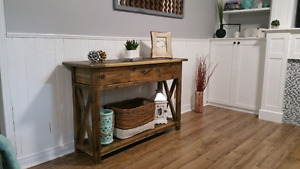 Rustic Console Table (breadboard top) - Accent Furniture