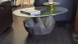 Bevelled Glass & Bear Coffee Table