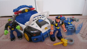 Fisher Price Rescue Heroes Police Cruiser/motorcycle/figures