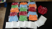 15 New cloth diapers+30 New inserts
