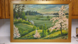 Antique landscape oil painting in style of Group of seven