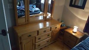 Solid Wooden Dresser and Night Stand