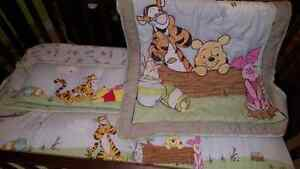 Pooh crib blanket and bumpers