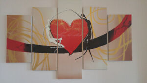 5 piece canvas painting on wooden frames