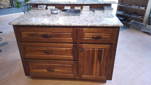 Beautiful Walnut island with granite tops