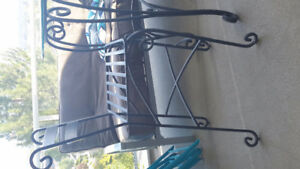Wrought Iron TABLE AND TWO STOOLS
