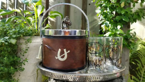 Vintage Polo Horse Cocktail Ice Bucket 2 Glasses Set