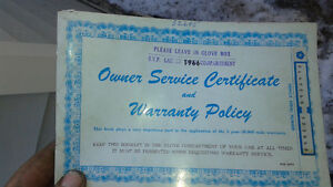1966 chrysler  service certificate & warranty policy book