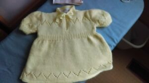 Baby dress, newly hand knit, size 6  to 12 mths