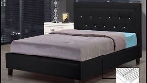 QUEEN BED WITH PEARLS & SPRING SLATS INCLUED