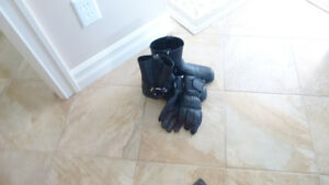 Motor bikes boots and gloves