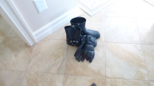 Patio set and Motor bikes boots and gloves