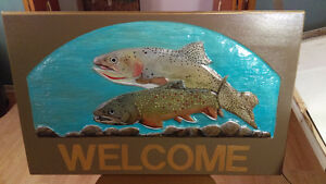 HAND CARVED AND HAND PAINTED CEDAR SIGNS
