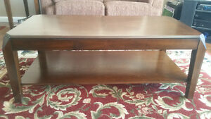 Like new high end solid wood coffee table and two end tables. Prince George British Columbia image 1