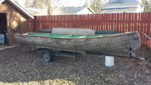 Mid 1900's Chestnut Wood Canvas Freighter Canoe 18'