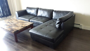 Authentic black leather sectional couch with 2 year warranty