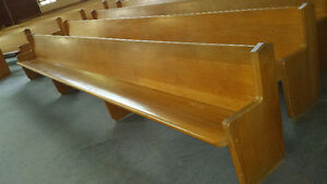 Solid Oak Church Pews - 18 feet long