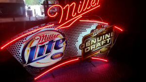 Miller beer dual brand neon sign