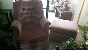 Suede material Rocker Swivel Chair + free foot stool - $15