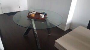 Luxury Mobilia Glass Top Dining Table - Like New