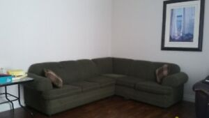 REDUCED - 2 Piece sectional sofa with hide-a-bed  $300
