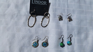Four pairs of costume jewellery